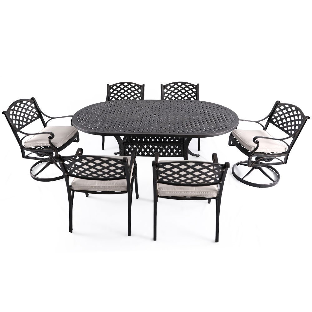 "Nuu Garden 7 Piece Outdoor Solid Cast Aluminum Patio Conversation Dining Set with 72"" x 42"" Oval Long Table, 4 Arm Chairs and 2 Swivel Rocking Chairs, Antique Bronze (creamy white cushions) SCD002-03"