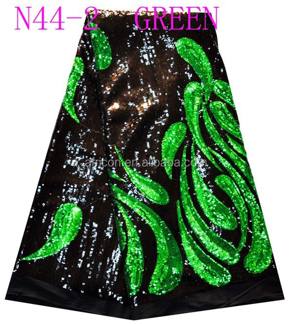 emerald green 2016 newest african fashion French Lace net lace with shining sequins