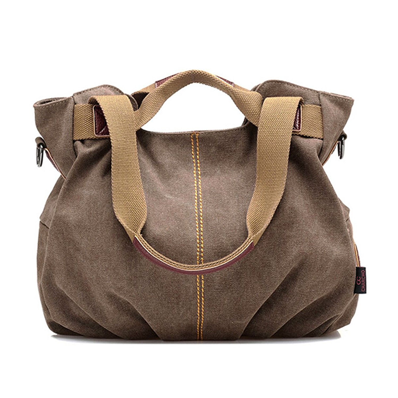 Mily Womens Canvas Hobo Handbag Tote Bag Casual Shoulder Bag Zipper Shopping Multi Zipper Pocket Oversized Lined Fashion Handbag Totes