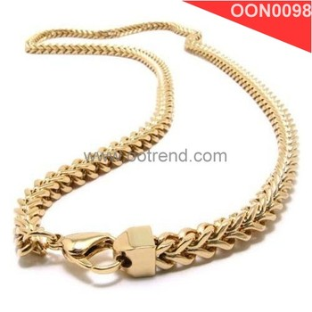 Gold color long chain necklace jewelry