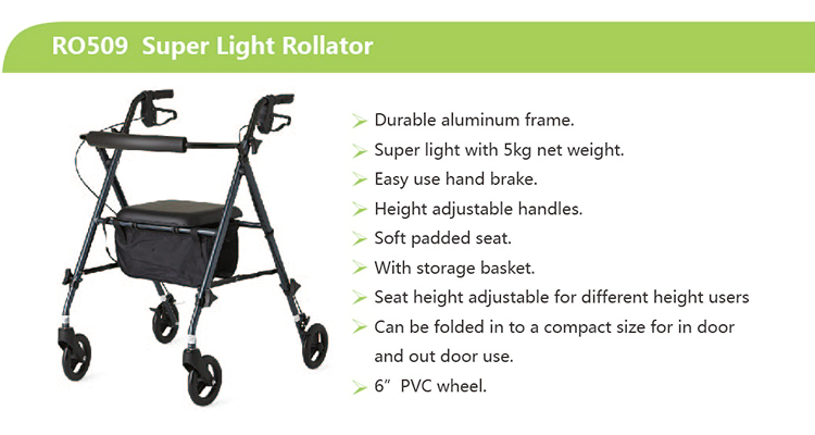 Wholesale Walking aid Adult Rollator Wheelchair RO509 Super Lightweight Aluminum Stand Up Rollator Walker with Seat