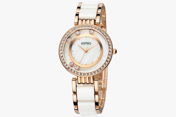 Kimio марка часы женщина мода дамы кристалл черный керамика группа роуз роскошные женщины горный хрусталь алмазов часы