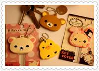Cartoon Anime Silicone Cute Key Cover Cap Stitch Keychain Women Key Chain Ring Holder Gifts