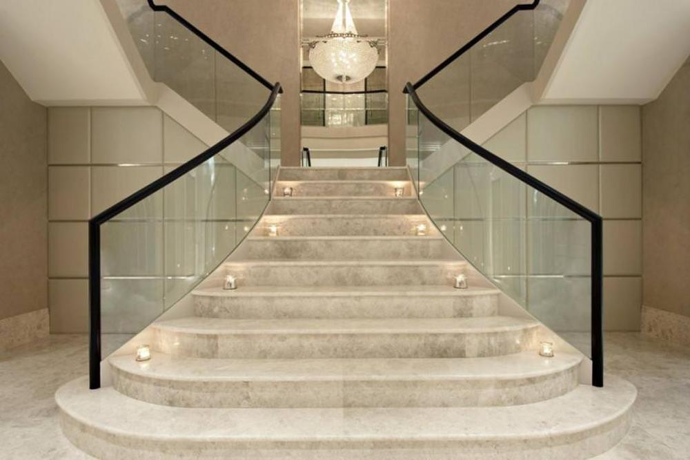Charmant European Chateau Interior Modern Marble Stair Steps Design