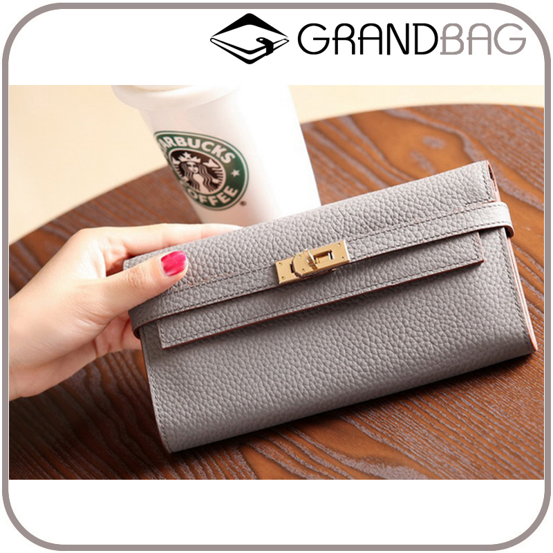 guangzhou wholesale high quality genuine top cowhide pebbled leather gold lock closure women clutch wallet for ladies