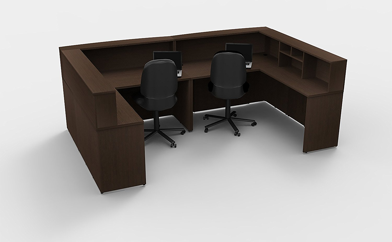 Office Reception Desk Reception Corner Collaboration Furniture Model 4307 8 Pc Group Contemporary Espresso color. Update Your Spaces with Commercial Grade Reception Collaboration Furniture.