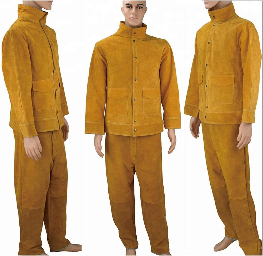 Leather Welding Jacket Protective Clothing Apparel Suit Safety Welder