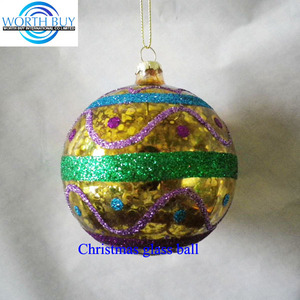 Hot sale in German paint glass christmas balls w/raised glitter pattern decoration factory