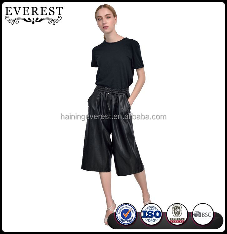 Culotte Style Bermuda Leather Pants Faux Leather Pants Woman