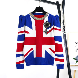 National flag sweater skull printed sweater models hand knitted sweaters