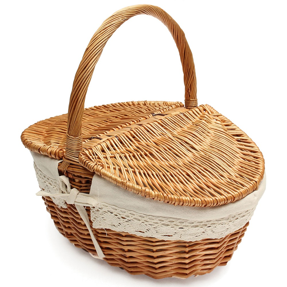 Picnic Basket Willow Wicker Shopping Hamper With Lid And