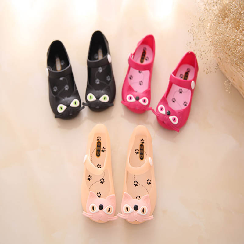 2016 Kids Shoes For Girls New Soft Rubber Cat children Jelly shoes infant Sandals for girl
