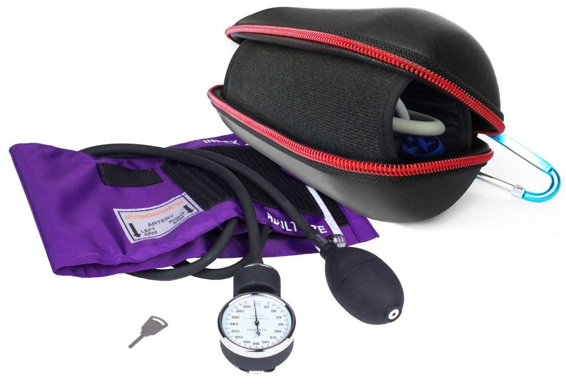 FitSand (TM) Carry Portable Travel Zipper Protective Hard Case Cover Bag Box for Dixie EMS Purple Deluxe Aneroid Sphygmomanometer Blood Pressure