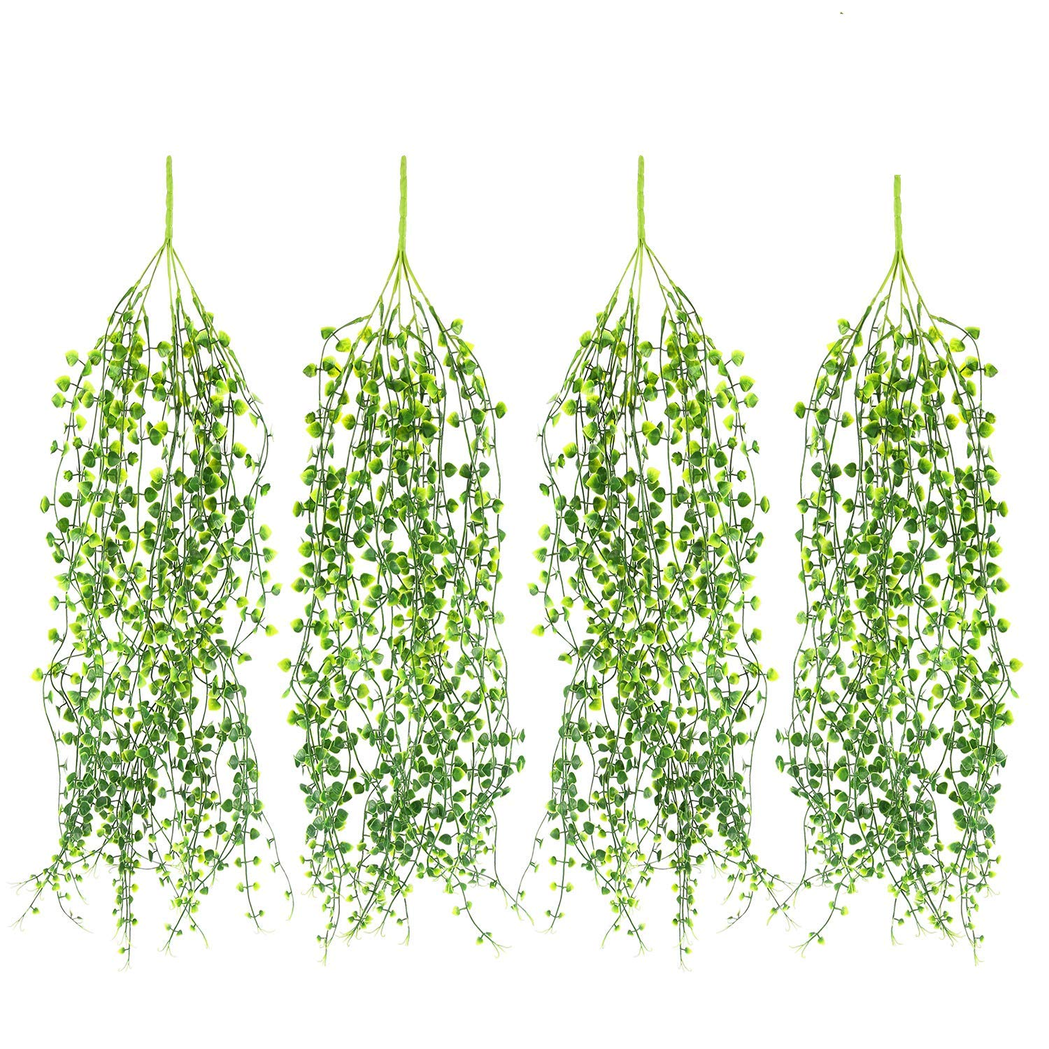Artificial Ivy Fake Hanging Vine Plants Decor Plastic Greenery for Home Hotel Office Kitchen Wedding Party Garden Craft Art Decor Hanging Basket (Pack of 4PCS)