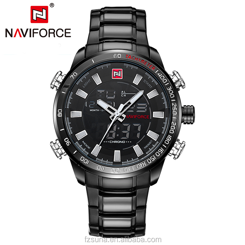 Originele Naviforce 9093 Heren Horloges Merk Luxe Full Staal Quartz Mannen Dual LED Digitale Horloge