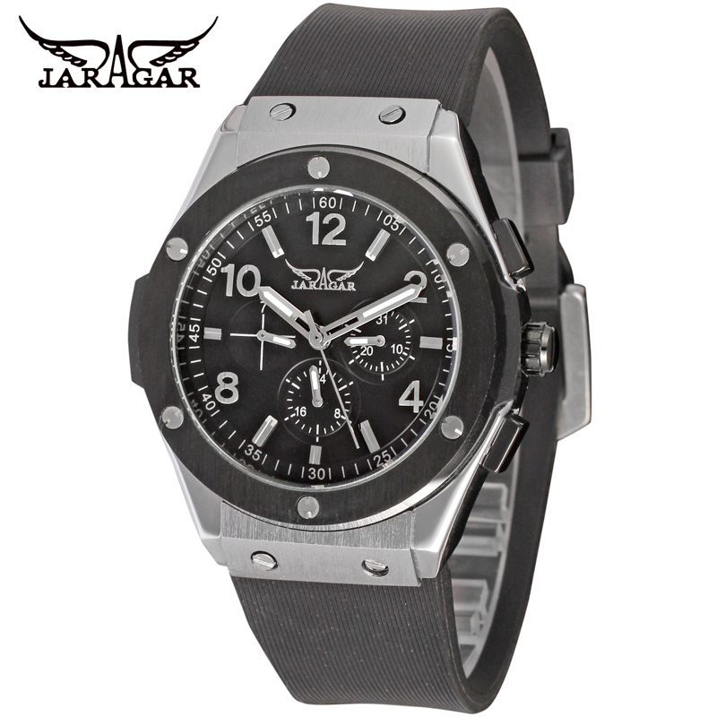 Jaragar Accurate <strong>Date</strong>&Day Classical Automatic Mechanical Rubber Outdoor Style Sport Men Wholesale Watches