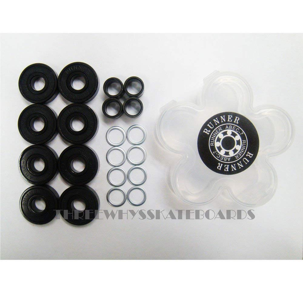 Runner 8pc Skateboard Longboard Bearings ABEC-7 with Spacers and Washer Set