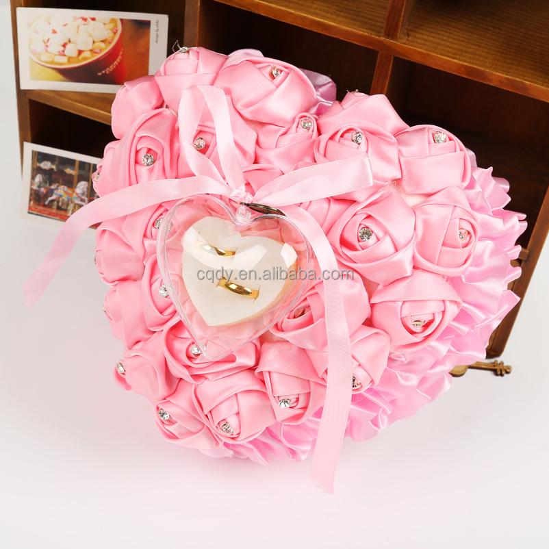 Top Quality Satin Rose Wedding Ring Pillow Love Heart Ring Bearer