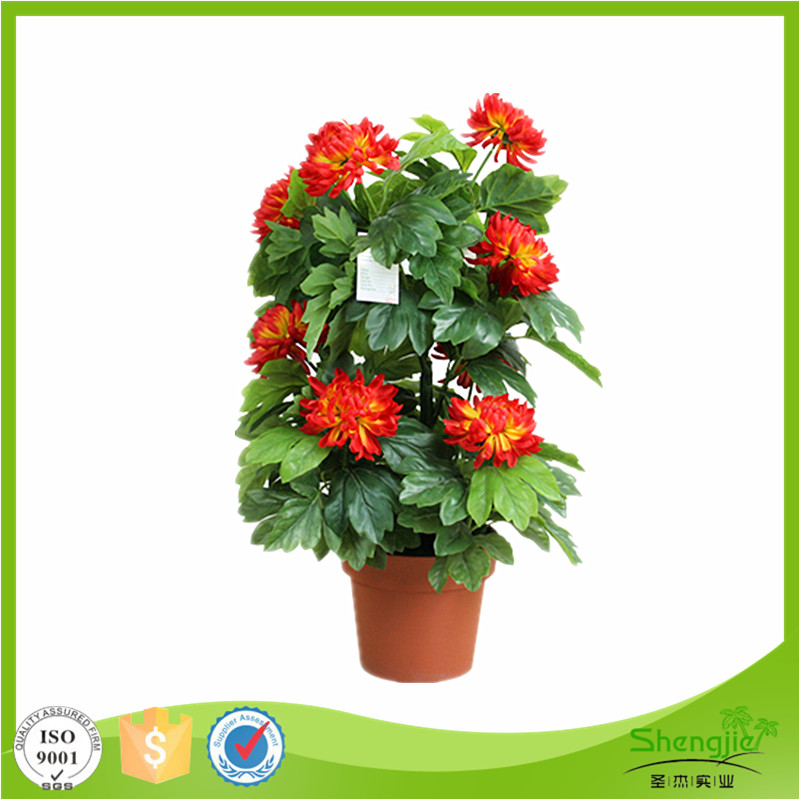 High quality silk flower bonsai indoor artificial peony flower plant with pot