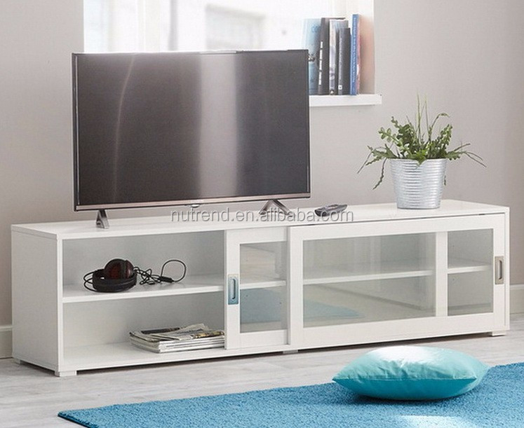 Wooden Modern Tv Cabinet With Glass Sliding Doors Showcase Design ...