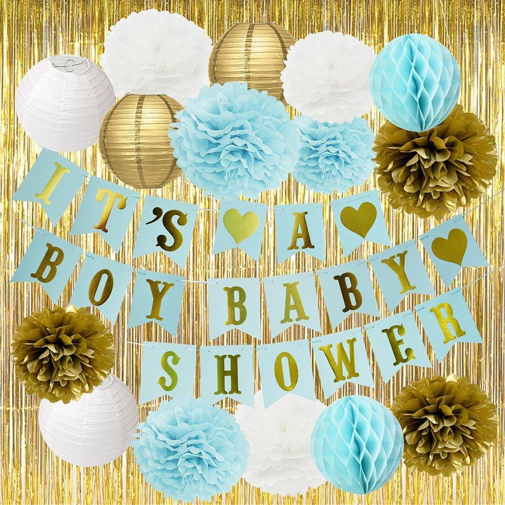 Baby Shower Decorations For Boy Blue BABY SHOWER IT'S A BOY Banner Tissue Paper Pom Poms Paper Flowers Paper Lanterns Gold Foil Curtain Blue/White/Gold Baby Shower Party Decorations For Boy