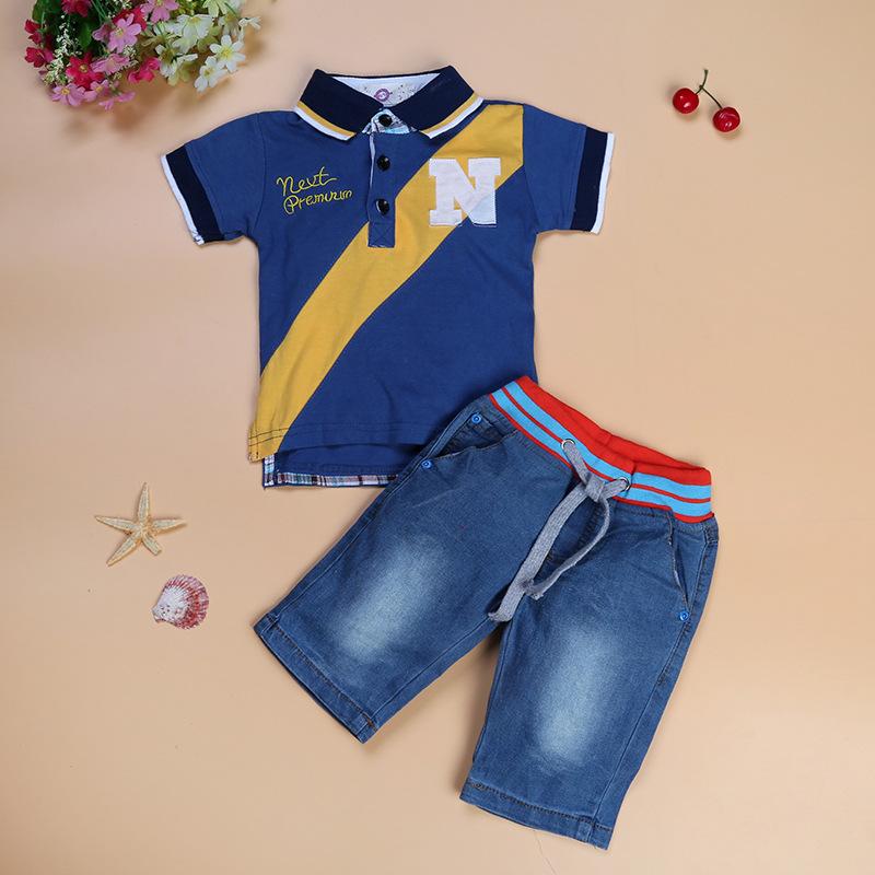2017 moda de verano bebé niños conjuntos niños conjunto de camisa de polo +  suelta pantalones 8f4d1feb96996