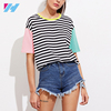 Contrast Neck And Sleeve Striped Summer Cheap Custom T Tee