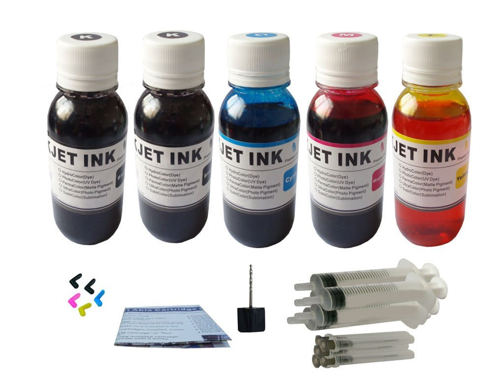 ND ™ Brand Dinsink: 5X4OZ (1 Pigment Black + 4 Dye BK C M Y) refill ink kit for Canon PGI-220BK CLI-221:PIXMA iP3600 iP4600 iP4700 MP540 MP560 MP620 MP620B MP640 MP640R MX860 MX870 With 5 syringes ,5Plugs and Drill.The item with ND Logo!