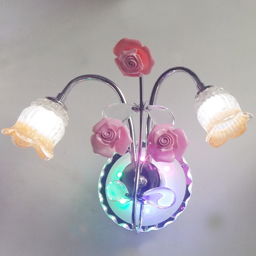 Factory wholesale hot sale in Pakistan India double head Photo frame flower glass led wall lamp