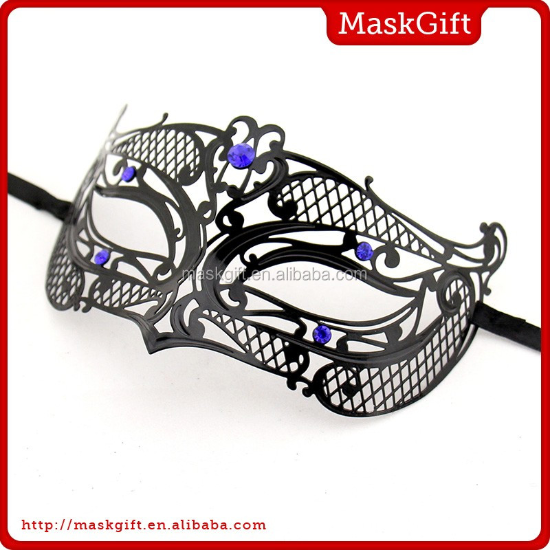 Nice fashion black metal masquerade party masks with blue stone