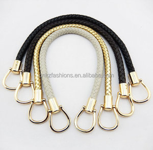 1pcS 14mmx50cm kz0102 Crochet PU faux leather handles and strap with gold clasp