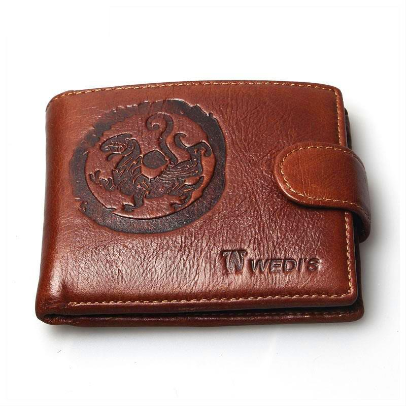 2015 New Fashion Vintage Purse Men Wallets Brand Circular Tiger Retro Wallet 100% Genuine Leather For Men Clutch Coin Purses