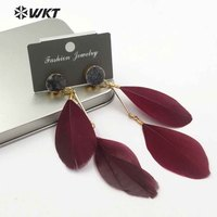 WT-E474 Beautiful Fashion Unique Trendy Multicolor Earrings For Fashion Jewelry Making Natural stone Light Feather Drop Earrings