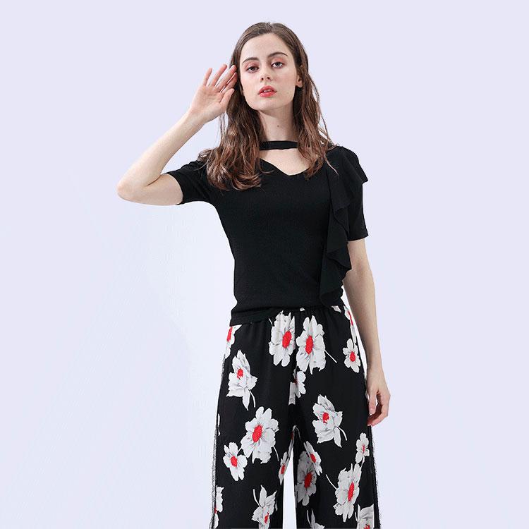 Hs Mode Nieuwe Stijl Bloemen Gedrukt Polyester Casual Dames Vrouwen Zomer Broek Set