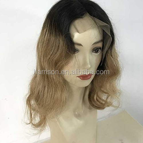16 inch Lace Front Wig Short Honey Blonde Ombre Lace Front Wig 100 Human Hair Lace Front Bob Wigs Color #1B to #27