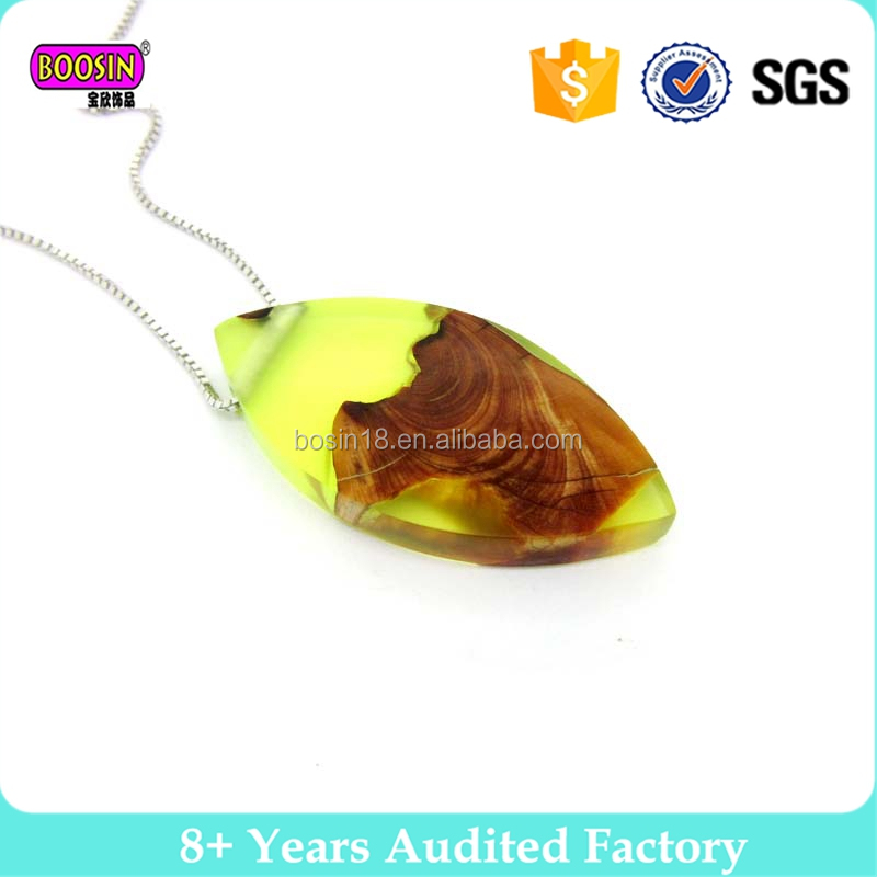 2017 new design handmade resin wood usb necklace