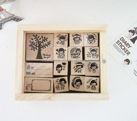 Customized wood stamps with boxes