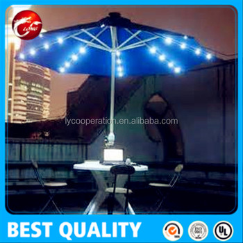 9ft Solar Ed Metal Patio Umbrella W 16 Led Lights Scarlet Solor With Product On