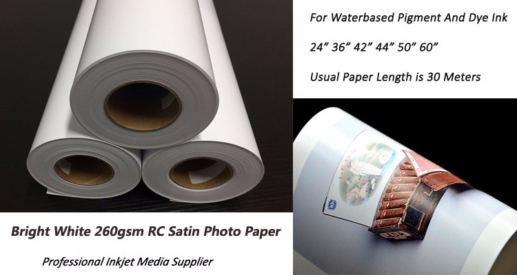 High Quality Large Format 260gsm Waterproof RC Satin Inkjet Printing Photo Paper Roll