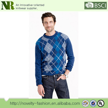 Crew Neck Knitting Patterns Argyle Mens Pullover Jacquard Sweater