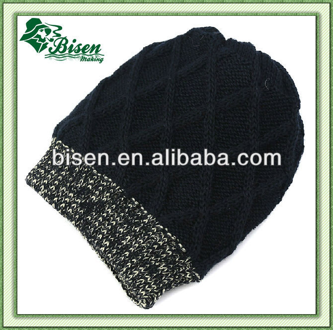 100% Acrylic thick long ribbed knit beanie