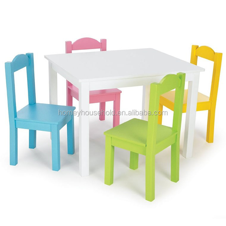 Colonial Teak Furniture Colourful Folding Wood Furniture Kids Study And Play  Table And Chair