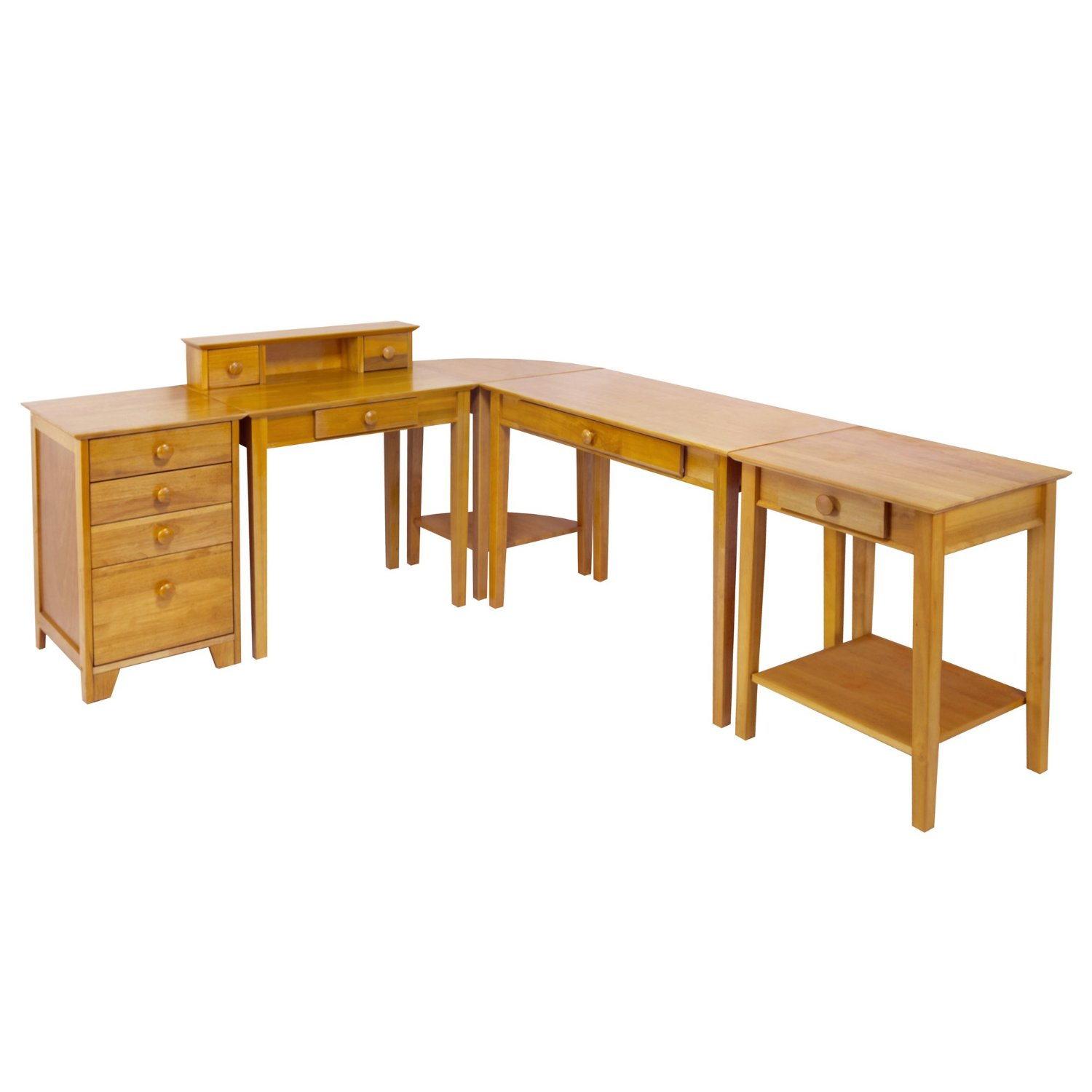 Office Desk Set 5-Piece by Winsome Studio Includes Computer Desk, Corner Table and Printer Stand, Crafted from Durable Wood