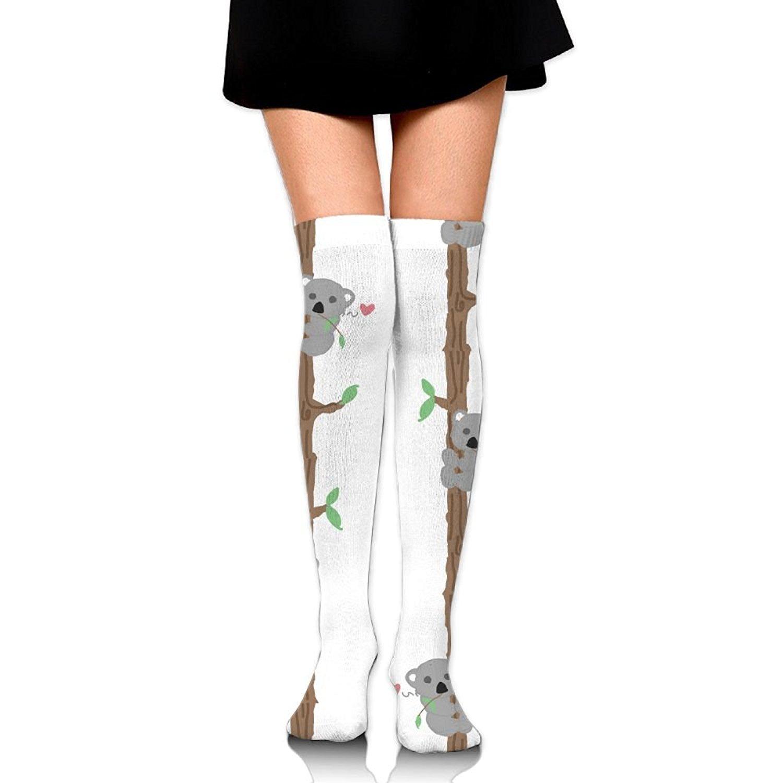 Zaqxsw Tree Koala Women Graphic Thigh High Socks Cotton Socks For Womens