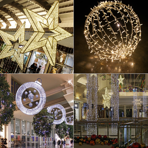 Outdoor Christmas Decorations Canada Led Christmas Ornaments Balls Bauble Star For Shopping Mall Christmas Hanging Decoration