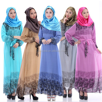 New Islamic long Dress Muslim clothes chiffon printed dress for middle east