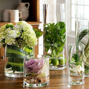 Cheap glass flower vase clear cylinder wedding vases for wholesale