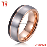 fashion accessories rose gold black brushed tungsten bands engagement wedding rings custome gold plated jewelry wholesale 8mm