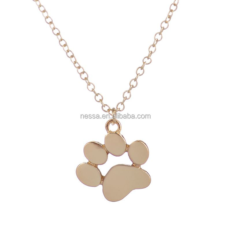 New Tassut Cat Dog Paw Print Animal Necklace Women Pendant Long Cute Necklace NSYH-0021