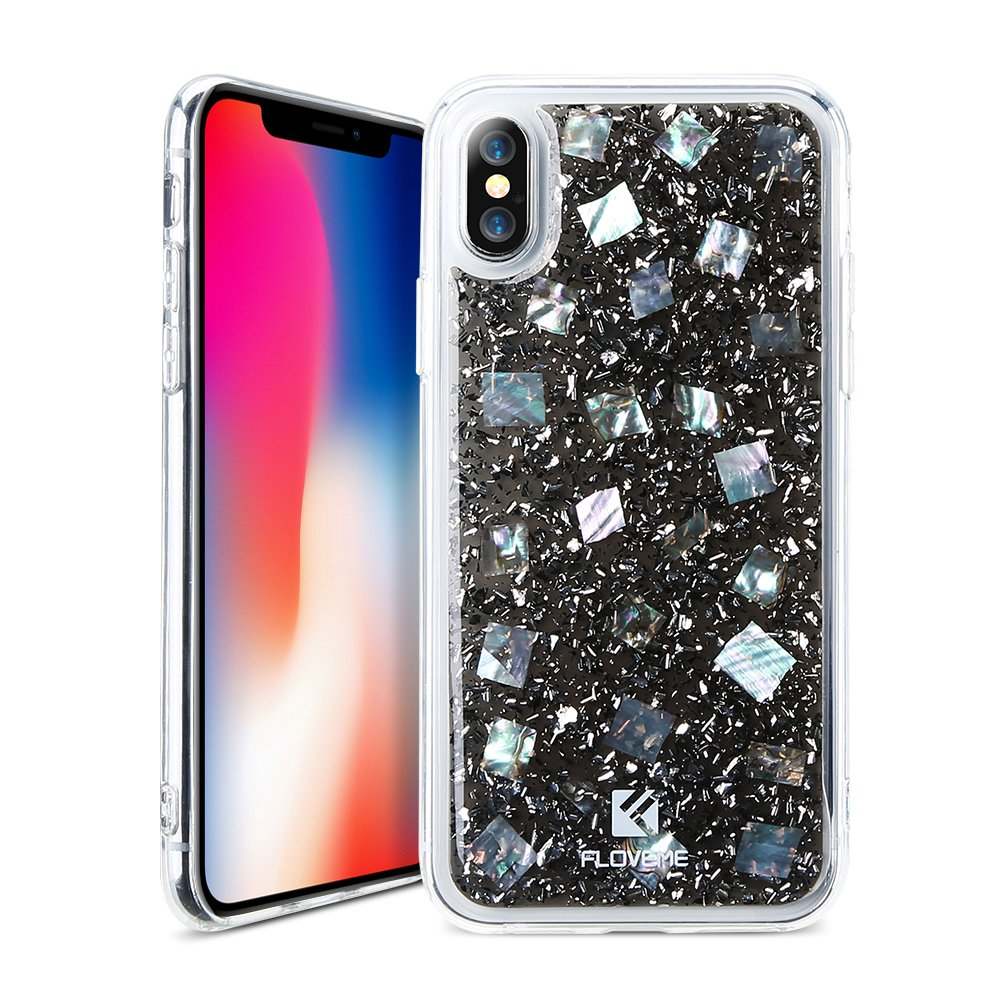 Luxury iPhone X Glitter Case, FLOVEME Transparent Sparkle Clear Crystal Pearl Shell Pattern Anti-Scratch Slim Soft TPU Back Protective Gel Rubber Bumper Shockproof Non Slip Cover, Black